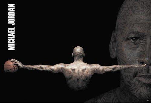 Michael Jordan tattoos arms spread horiz POSTER 34 x 23.5 basketball legend
