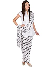 Womens Cottage Leaf Printed Cotton Semi Patiala & Cotton Dupatta With Beads