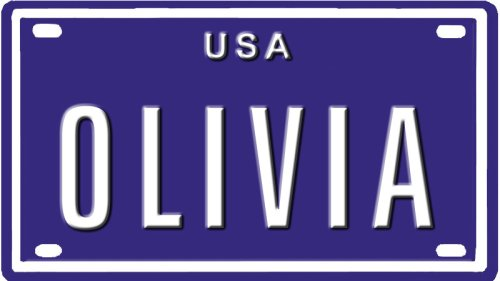 OLIVIA USA MINI METAL EMBOSSED LICENSE PLATE NAME FOR BIKES, TRICYCLES, WAGONS, KIDS DOORS, GOLF CARTS, BABY STROLLERS, PEDAL CARS. OVER 400 NAMES AVAIALABLE. TYPE IN