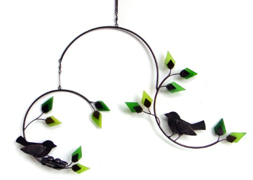 Blue Handworks Forest Birds Yard Art with Glass Leaves Mobile (Art Mobiles compare prices)