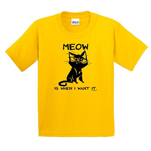 Meow Is When I Want It, Cat Humor Youth T-Shirt Medium Daisy