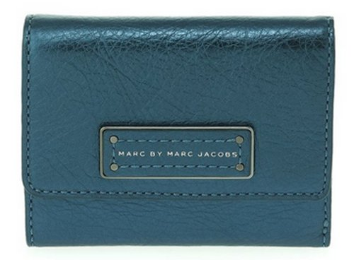 Marc By Marc Jacobs Marc Jacobs Too Hot To Handle Metallic Billfold Wallet in Metallic Blue