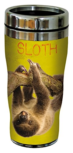 Tree-Free Greetings 25790 Eric Isselee Sloth Sip 'N Go Stainless Lined Travel Mug, 16-Ounce