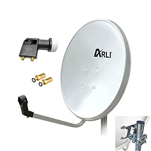 60 cm HD SAT Anlage Digitale WEISS TWIN LNB 2 Teilnehmer Schüssel Antenne Spiegel 4K