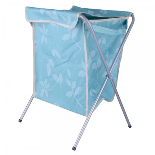 Kly Oxford Fabric Collapsible Dirty Clothes Storage Basket With Cover Blue 13012614 front-944647