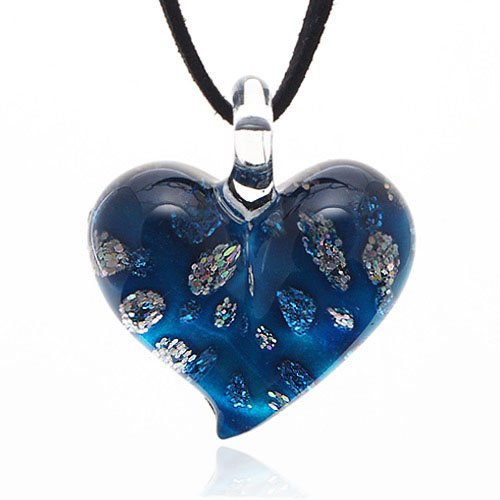 Hand Blown Venetian Murano Glass Blue with Tiny Flowers Pendant Necklace, 18-20 inches (Italian Blown Glass Necklace compare prices)