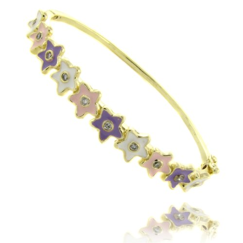 Lily Nily 18k Gold Overlay Enamel Flower Design Children's Bangle
