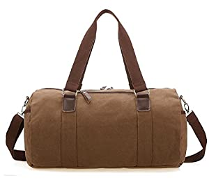 ZeleToile® Men's Retro Canvas Weekend Travel Duffel Bag Handbag Holdall Bag Cross Body Shoulder Bag Coffee