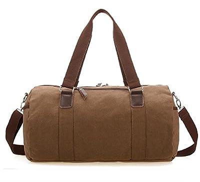 ZeleToile® Men's Retro Canvas Weekend Travel Duffel Bag Handbag Holdall Bag Cross Body Shoulder Bag Coffee