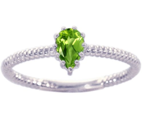 14K White Gold Pear Gemstone Solitaire Stackable Ring-Peridot, size6.5