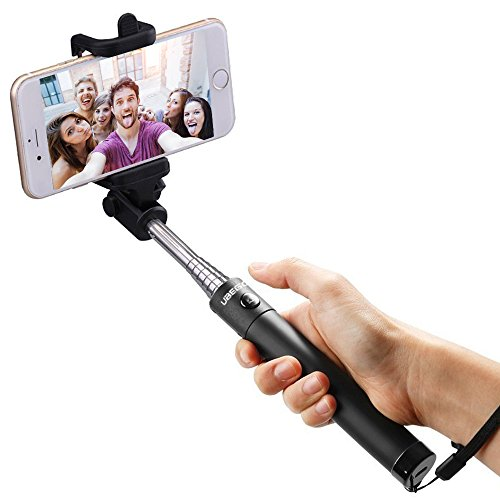 Bluetooth Selfie Stick,Ubegood Foldable Extendable Self-portrait Monopod with Adjustable Phone Holder for iPhone SE/iPhone 6/6s/6 Plus/6s Plus,Samsung s7 edge/S7/S6/S5(Black)
