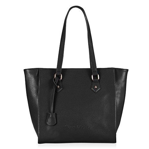 Veevan Womens Classy Leather Tote (Black)