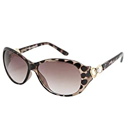 Gansta UV protective oval womens sunglasses - (ZE-1033-DA|58|Brown Lens)