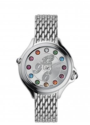 Fendi Crazy Carats Ladies-small Silver Diamond Dial Stainless Steel Watch F105026000D1T02