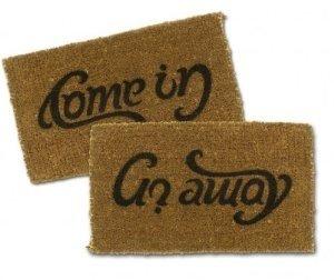 Come In/Go Away Ambigram Coir Doormat- 16″ X 27″