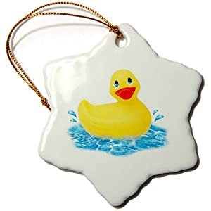 3dRose LLC Rubber Duck 3-Inch Snowflake Porcelain Ornament