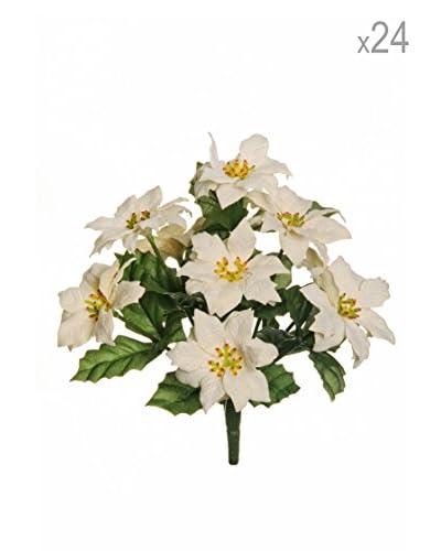 Set 24 Manojos De Flor De Pascua Artificiales Aterciopeladas