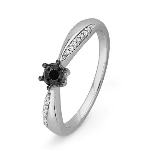 10Kt White Gold Round Diamond Black And White Engagement Ring (1/3 Cttw)