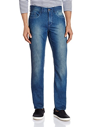 Newport Men's Slim Fit Jeans (8907242953335_268307020_32W x 30L_Blue Mid Stone)  available at amazon for Rs.499