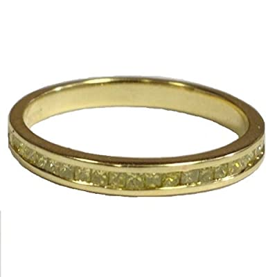 0.50 Carat Fancy Yellow Princess Diamond Half Eternity Ring,9k Yellow Gold