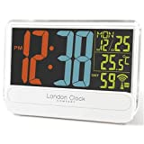 White Radio Controlled LCD Colour Display Alarm Clockby London Clock Company