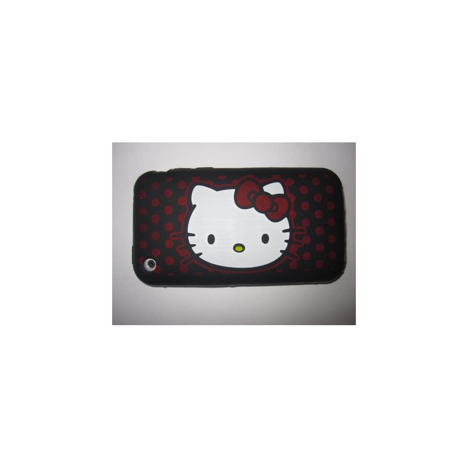 I Phone 3G 3GS light weight Hello Kitty Silicone Case / Skin Black