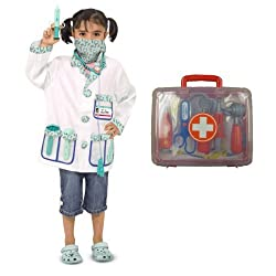 Melissa & Doug Doctor Costume Deluxe Role Play Set with Medical Play Set Bundle