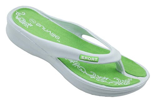 New Sunville Brand Women'S White & Green Wedge Flip Flops Size 10 front-575761