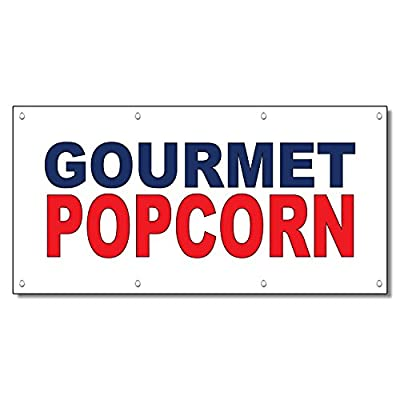 Gourmet Popcorn Blue Red Food Bar Restaurant Food Truck Vinyl Banner Sign