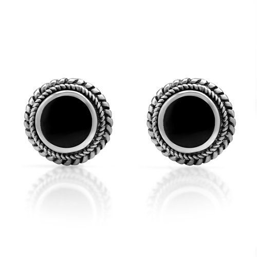 925 Sterling Silver Bali Inspired Tiny Black Onyx Gemstone Braided Round 9 mm Post Stud Earrings