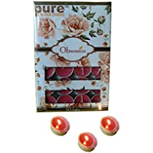 Pure Source India 24 Pcs Pack Of Scented Tea Light Candles Rose Fragrance Smokeless ,BURN TIME 3 HRS.