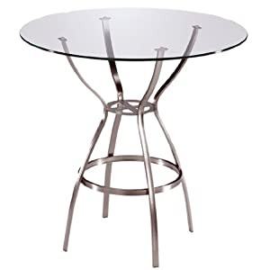Trica Amsterdam Bar Height Table with Glass Top, 42-1/2 inch H, 42 inch Dia. Glass Top, Brushed Steel