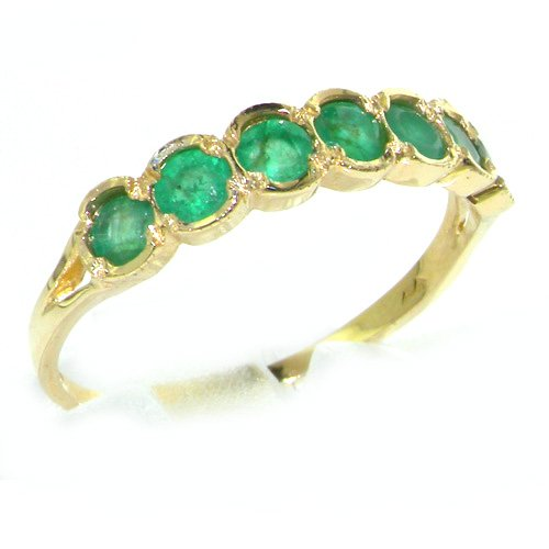 9ct Yellow Gold Ladies Emerald Anniversary Eternity Band Ring - Size W 1/2 - Finger Sizes K to Z Available - Perfect gift for Anniversary, Engagement, Wedding, First Child