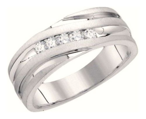 0.27 Cttw 10K White Gold Diamond Mens 5 Stone Wedding Ring Channel Set Anniversary Band (Sizes 8-13)