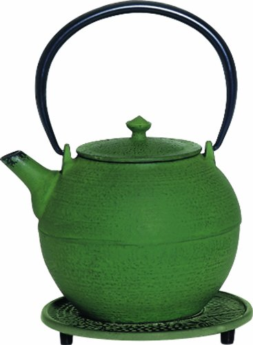 G&H Tea Services Kyoto Japanese Tetsubin 28-Ounce Teapot And Trivet, Green
