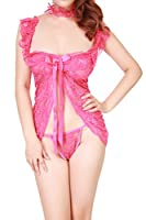 Womens Sexy Complex Lace Straps Babydoll Lingerie Sets with T-back