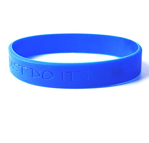 GP Custom Personalised 12mm Silicone Wristband Bracelets for Any Name & Text Engraved (Blue) (Custom Rubber Wristbands compare prices)