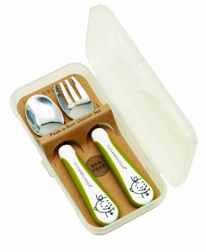 Sugarbooger Peek-A-Boo Silverware Set, Kiwi Green