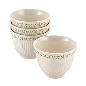 Paula Deen Signature Pantryware 4-Piece Melamine Prep Bowl Set, Cream/Pear