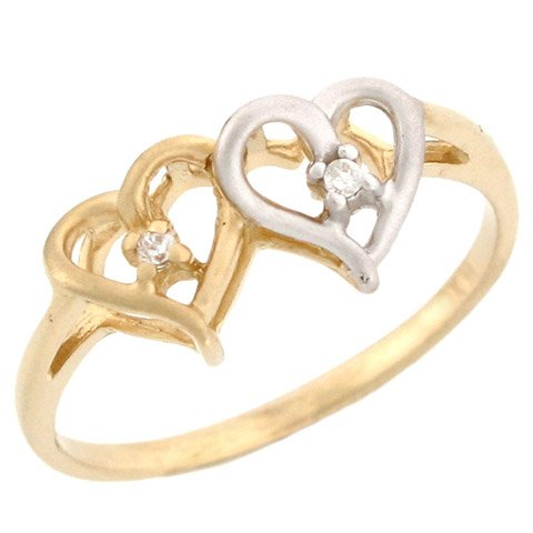 14k Yellow and White Gold Overlapping Hearts Diamond Promise Ring
