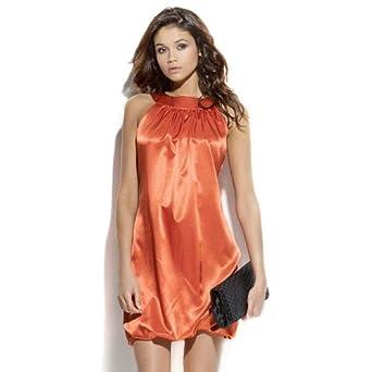 Mrel - Mini Robe À Encolure Américaine Et Épaules Nues - Taille : 34 - Couleur : Orange