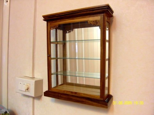 WALL CABINET Glass Teak Curio 1 door Wood Handmade Carved Mountable Shadow Box Display Case Showcase