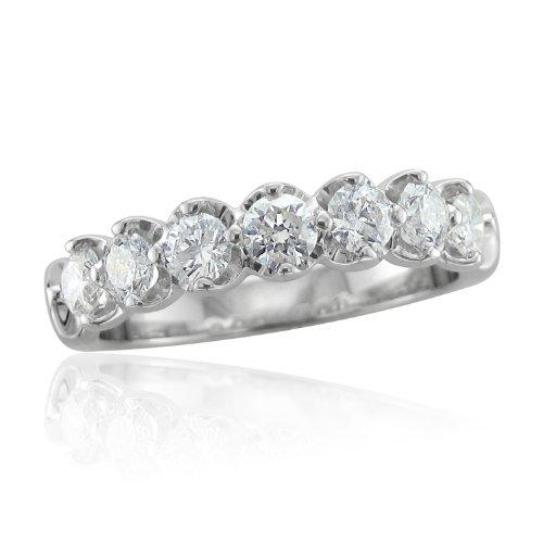 14k White Gold 7 Stone Diamond Band Ring (GH, SI3-I1, 0.50 carat)
