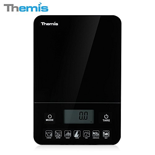 THEMIS TMS1518 Nutritional Calculator Digital Multifunction Kitchen Food Scale, Calorie Calculation, Accurate Electronic Kitchen Scales 1g - 10kg / 0.05oz - 22lbs; Tempered Glass - Black (Food Calorie Scale compare prices)