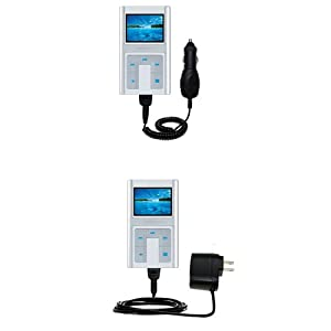 Car and Wall Charger Essential Kit for the Creative Zen Sleek Photo - uses Gomadic TipExchange Technology