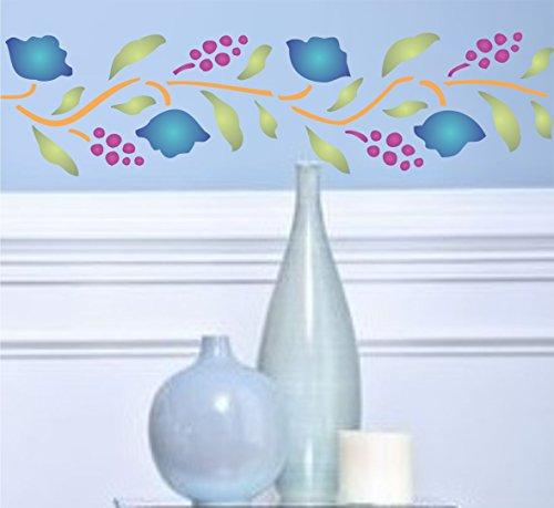 Folk Art Border Stencil-riutilizzabile stencil per pittura-migliore qualità Scrapbooking idee-Utilizzare su pareti, Pavimenti, tessuti, vetro, legno, terracotta, e più... L