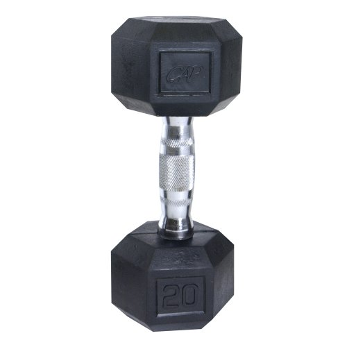 Cap Barbell Rubber Coated Hex Dumbbell with Contoured Chrome Handle (20-Pound)