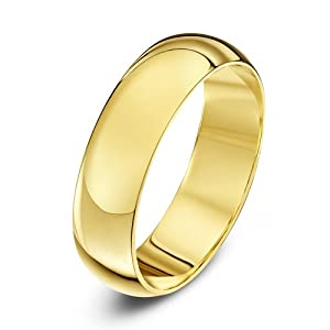 Theia 18ct Yellow Gold - Super Heavy D Shape - Highly Polished 5mm Wedding Ring for Men or Women - Size P