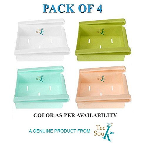 "247TeckSouk's Pack of 4 Multi Purpose Storage RacksOrganizers for Refrigerator, Office and Kitchen for Double Storage and Extra Space- (""Color as per availability & may vary"")"