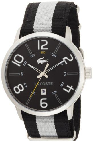 Lacoste Barcelona Black Dial Black and White Strap Mens Watch 2010497